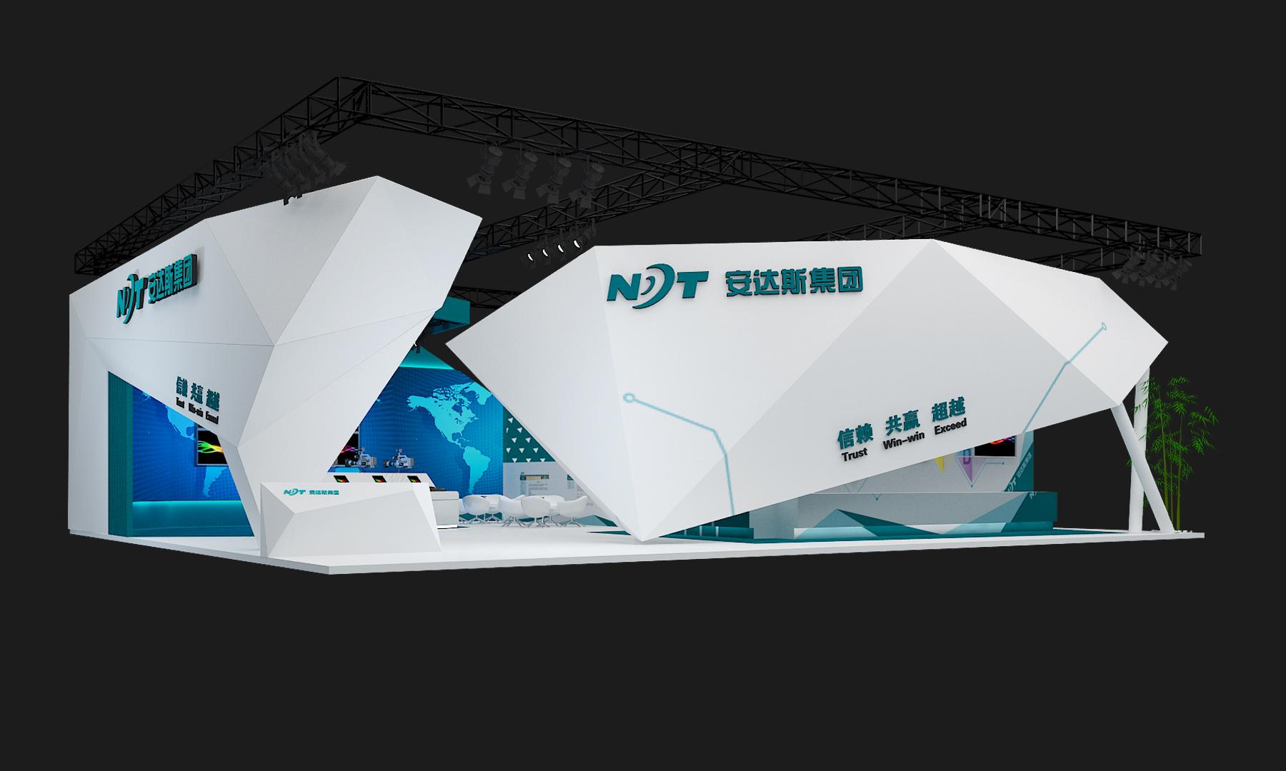 现代抽象科技感展台 展示设计